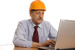 Engineer at the computer isolated Royalty Free Stock Photography