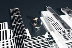 Engineer concept. Abstract image of nerdy businessman using laptop while sitting on black floor with abstract city. Engineer concept. 3D Rendering Stock Photography