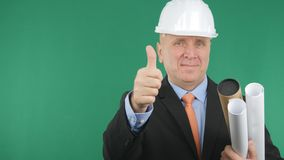 Engineer Confiding Image Smile and Make Thumbs Up a Good Job Sign stock images