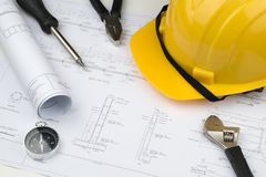 Engineer construction business work concept : engineering bluepr. Int diagrams paper drafting and industrial equipment technical tools ,selective focus Royalty Free Stock Image