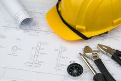 Engineer construction business work concept : engineering bluepr. Int diagrams paper drafting and industrial equipment technical tools ,selective focus Stock Images