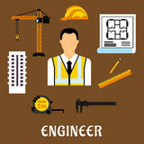 Engineer and construction flat icons Royalty Free Stock Image