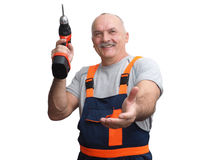 The engineer in construction pants holding trammel Royalty Free Stock Photo