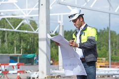 Engineer At Construction Site Royalty Free Stock Images