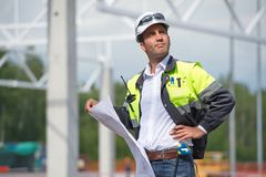 Engineer At Construction Site Stock Photo