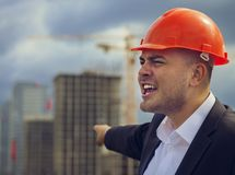 Engineer at construction site royalty free stock photography