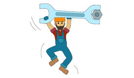 Engineer Construction worker. Employee workman builder contractor, plumber, builder Stock Image