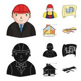 Engineer-constructor, construction worker, site plan, technical drawing of the house. Architecture set collection icons. In cartoon,black style vector symbol Royalty Free Stock Photo