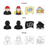 Engineer-constructor, construction worker, site plan, technical drawing of the house. Architecture set collection icons. In cartoon,black,outline style vector Royalty Free Stock Photos