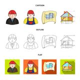 Engineer-constructor, construction worker, site plan, technical drawing of the house. Architecture set collection icons. In cartoon,outline,flat style vector Stock Photos