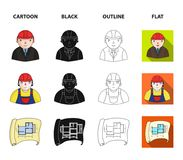 Engineer-constructor, construction worker, site plan, technical drawing of the house. Architecture set collection icons. In cartoon,black,outline,flat style Royalty Free Stock Photography