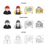 Engineer-constructor, construction worker, site plan, technical drawing of the house. Architecture set collection icons. In cartoon,outline,monochrome style Stock Photos