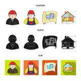 Engineer-constructor, construction worker, site plan, technical drawing of the house. Architecture set collection icons Stock Image