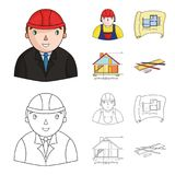 Engineer-constructor, construction worker, site plan, technical drawing of the house. Architecture set collection icons Stock Images