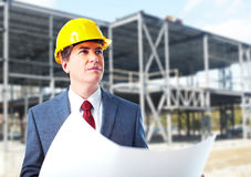 Engineer constructor with a project. Royalty Free Stock Images