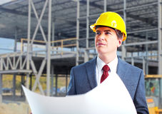 Engineer constructor with a project. Industrial worker Royalty Free Stock Images
