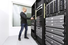 Install Network Router in Datacenter Royalty Free Stock Photos