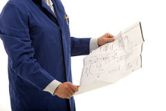 Engineer Consulting Blueprints Royalty Free Stock Images