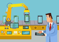 Engineer controlled assemble line of tablets Stock Images