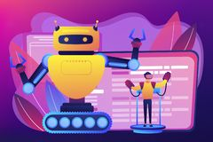 Remotely operated robots concept vector illustration. Engineer controlling big robot with remote technology. Remotely operated robots, robot control system royalty free illustration