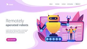 Remotely operated robots concept landing page. Engineer controlling big robot with remote technology. Remotely operated robots, robot control system stock illustration
