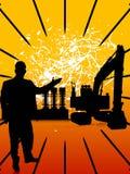 Engineer and crane. On sunburst background Stock Images