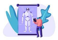 Engineer Create Robot. Artificial Intelligence Futuristic Mechanism Technology. Innovative Look. Man Watching at Figure. Of Huge Robot on Screen. Robotics royalty free illustration