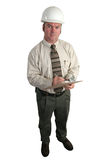 Engineer - Critical. A construction engineer looking critical - full view, isolated Stock Photos