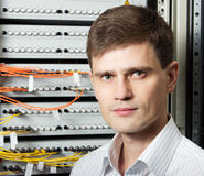 The engineer in a data processing center Royalty Free Stock Photography