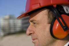 Engineer deep in thought Stock Photography