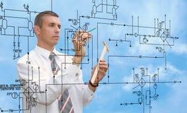 Engineer designer. Engineering Designing  buildings. Engineer designer Royalty Free Stock Photo