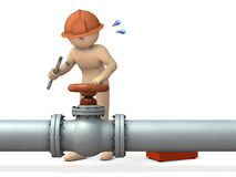 Engineer desperately repairing piping. Royalty Free Stock Photo