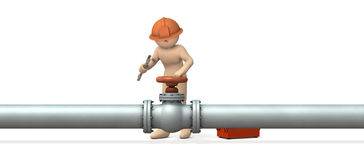 Engineer desperately repairing piping. Stock Photography
