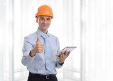 Engineer with digital tablet computer stock photography