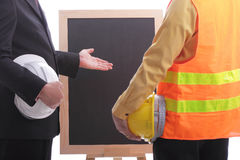 Engineer discuss and present his job for prepare Royalty Free Stock Image