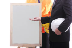 Engineer discuss and present his job for prepare Stock Image