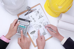 Engineer discuss project for preparation Stock Images