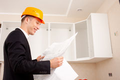 Engineer with documents Stock Photo
