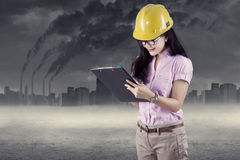 Engineer doing environment survey Royalty Free Stock Photo