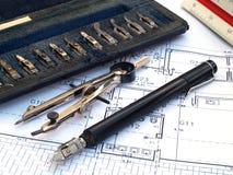 Engineer draw tools Royalty Free Stock Photo