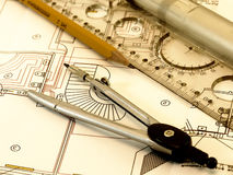 Engineer drawing. Picture of technical engineer drawing Royalty Free Stock Image