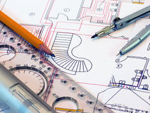 Engineer drawing. Picture of technical engineer drawing Royalty Free Stock Photo