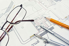 Engineer drawing. Picture of technical engineer drawing Stock Photos