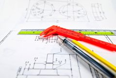 Engineer drawing Stock Photo