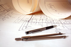 Engineer drawing Royalty Free Stock Images