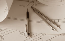 Engineer drawing. Picture of technical engineer drawing Royalty Free Stock Photos