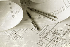 Engineer drawing. Picture of technical engineer drawing Stock Image