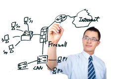 Engineer drawing  internet network graph Stock Photo