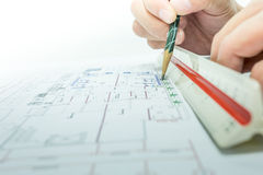 Engineer and drawing paper Stock Photos