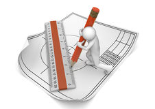 Engineer drawing with pencil and ruler Royalty Free Stock Images